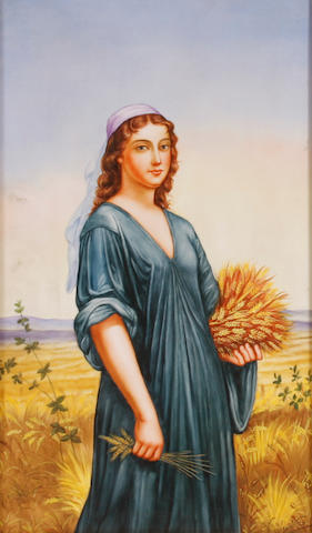 A framed Berlin style porcelain plaque depicting Ruth