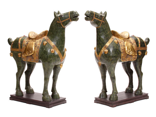 A large pair of Chinese gilt metal and hardstone mounted models of horses