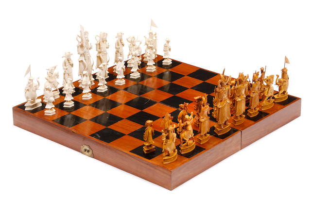 A Chinese carved ivory chess set