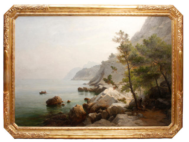 Luc Raphael Ponson (French, 1835-1904) Rochers de l'Estaque Marseille 69 x 98in