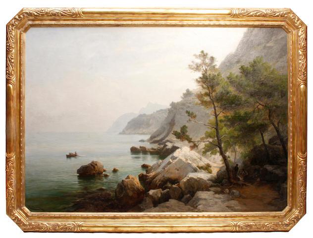 Luc Raphael Ponson (French, 1835-1904) Rochers de l'Estaque Marseille 69 x 98in