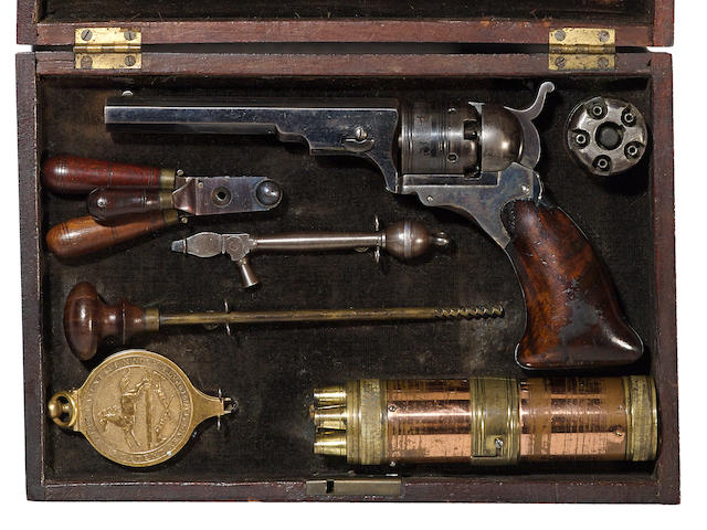 A cased Colt Paterson No. 3 Belt Model percussion revolver
