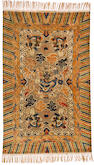 A Chinese metal and silk rug China size approximately 4ft. 10in. x 7ft. 9in.
