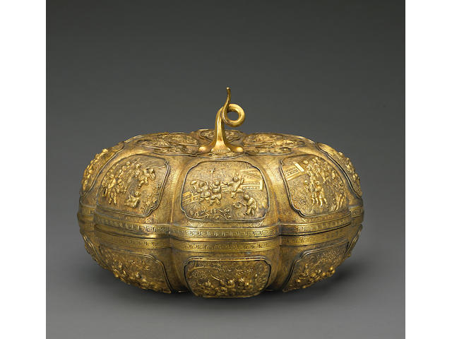 An impressive gilt copper melon-formed box and cover Qianlong mark, Late Qing/Republic Period