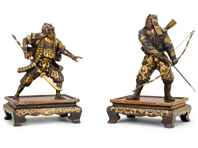 A pair of Miyao bronze figures By Miyao Eisuke, Meiji period (late 19th century)