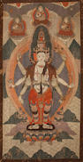 A silk embroidered thangka of Avalokitesvara Mongolia, 19th century