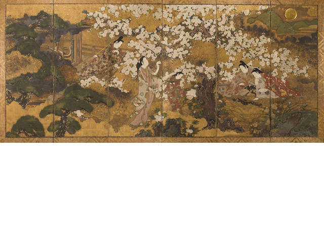 Circle of Iwasa Matabei (early-to-mid 17th century) Composing Poetry in a Spring Landscape