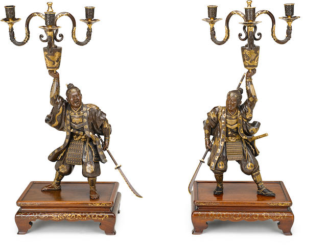 An impressive pair of Miyao bronze candelabra By the Miyao workshop, Meiji period (late 19th century)