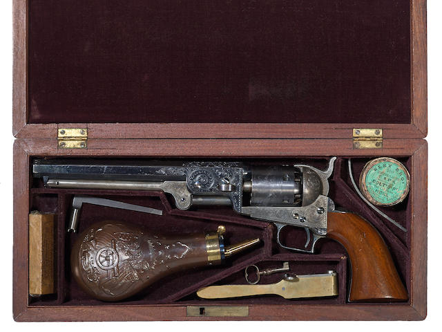 A cased and factory engraved Colt Model 1851 Navy percussion revolver