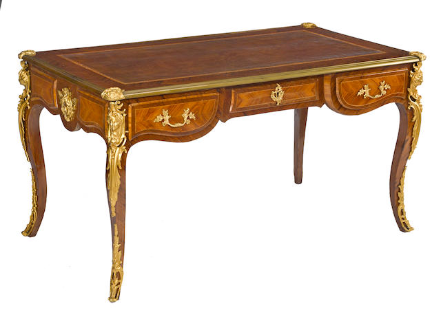 A Louis XV style gilt bronze mounted tulipwood and kingwood bureau platfirst half 20th century