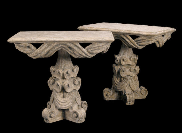 A pair of Baroque style painted console tables Bliss Studios, Californiamodern