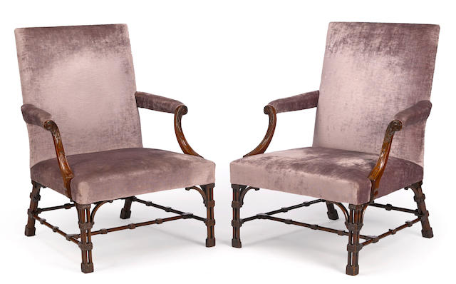 A fine pair of George III mahogany library chairsprobably William Linnell third quarter 18th century