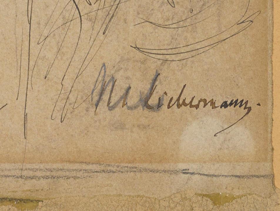 Max Liebermann (German, 1847-1935) Biergarten (study for Münchner Bierkonzert)  11 1/4 x 12 1/2in.