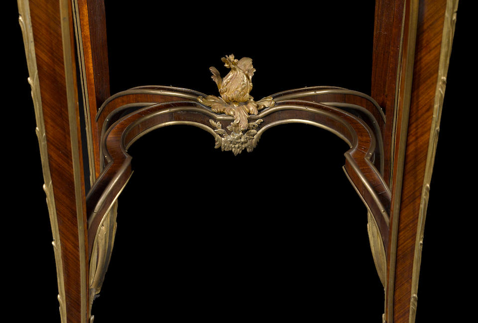A fine and rare Louis XV style gilt bronze mounted marquetry and rosewood table de nuit Emmanuel Zwienerfourth quarter 19th century