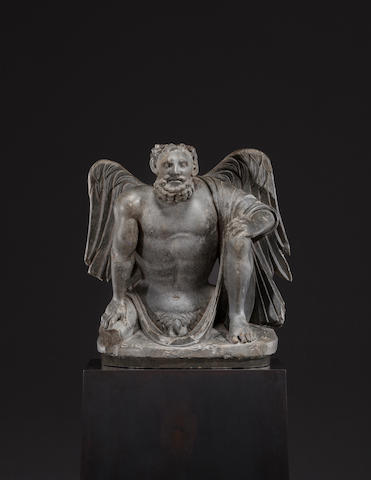 A schist figure of a winged Atlas Ancient region of Gandhara, 3rd/4th century