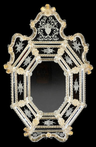 A Venetian Baroque style etched glass mirror20th century