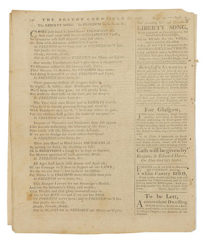 LIBERTY SONG. [DICKENSON, JOHN. 1742-1808.]  The Boston Chronicle.  Boston: Printed by Mein and Fleeming, September 5, 1768.  Vol 1, no 38.