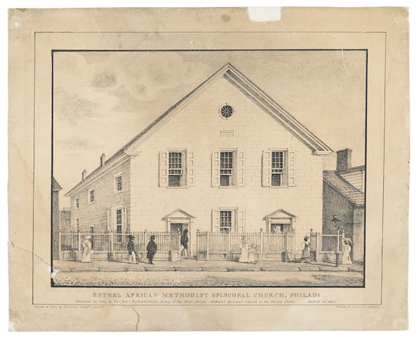 AFRICAN-AMERICANA. Bethel African Methodist Episcopal Church, Philada. Founded in 1794 by the Revd. Richard Allen, Bishop of the first African Methodist Episcopal Church in the United States. Rebuilt in 1805. Philadelphia: Kennedy & Lucas, 1829.
