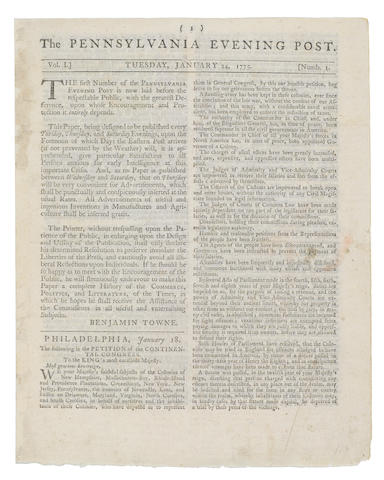 FIRST CONTINENTAL CONGRESS—PETITION TO THE KING. The Pennsylvania Evening Post. Philadelphia: Printed by Benjamin Towne, January 24, 1775. Vol 1, No 1.