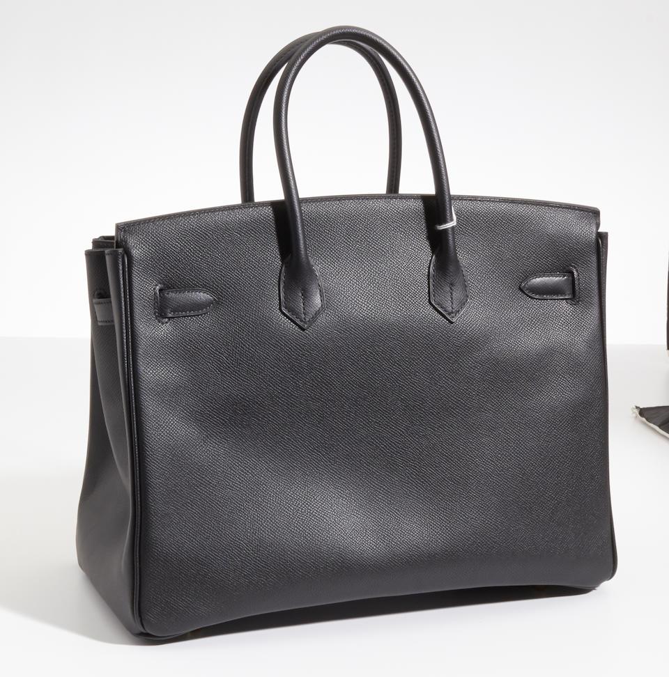 An Hermès black leather Birkin handbag