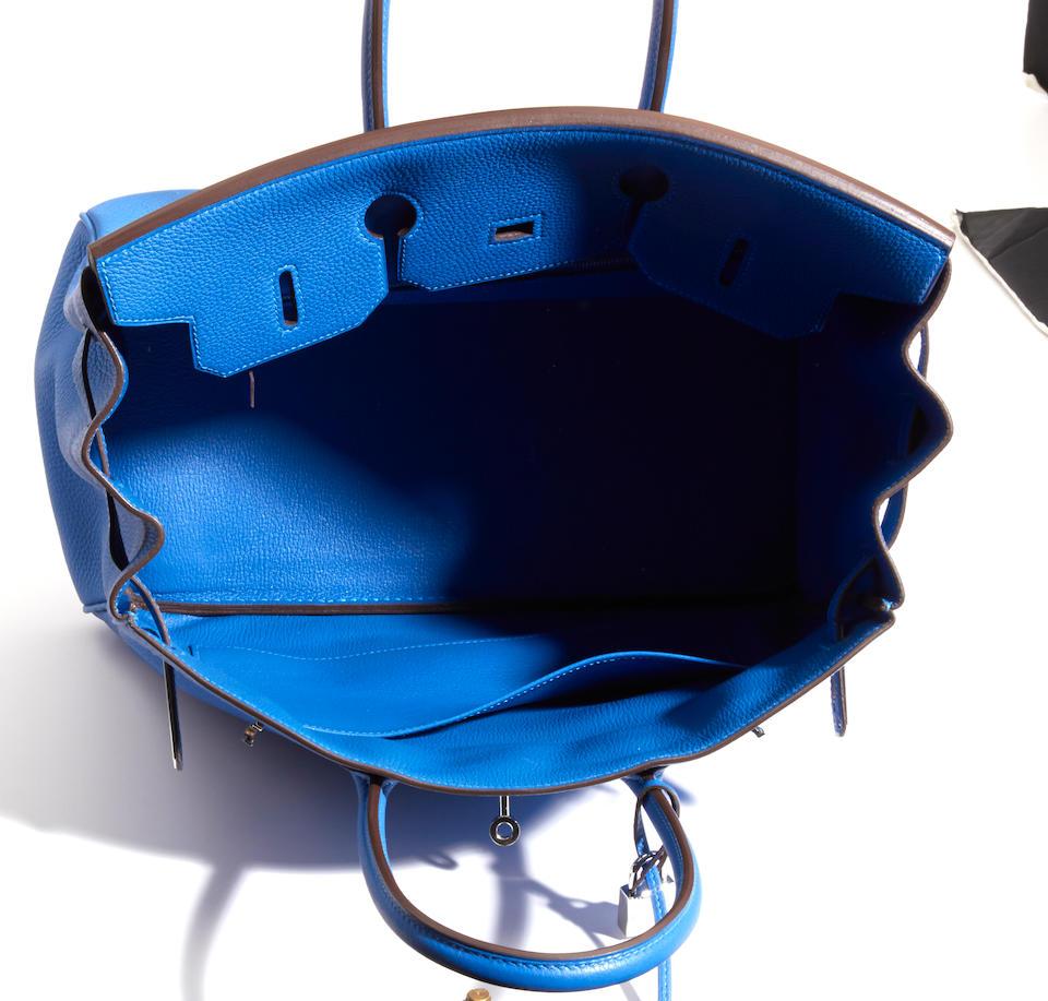 An Hermès blue leather Birkin handbag