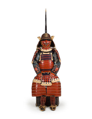 A red lacquer armor Helmet by Saotome Ienori, Edo period (18th century)