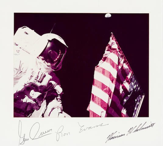 HARRISON SCHMITT AND THE AMERICAN FLAG.