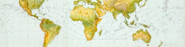 MERCURY ATLAS 8 ORBITAL CHART—SIGNED BY WALLY SCHIRRA.