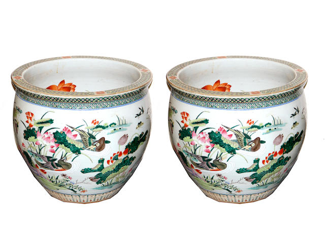 A pair of Chinese porcelain polychrome enameled fish bowls 20th century