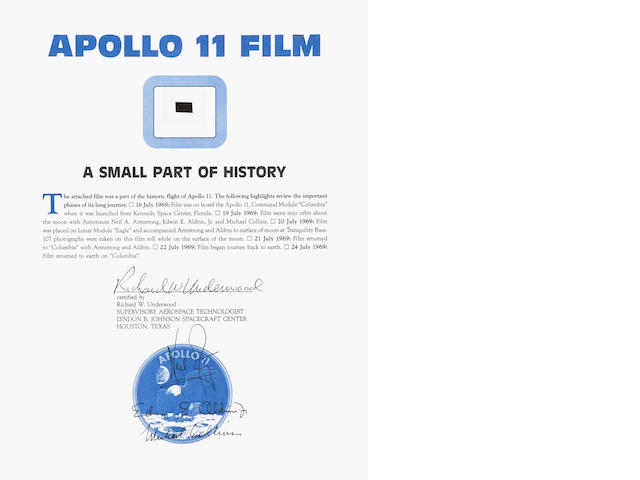 FLOWN APOLLO 11 HASSELBLAD FILM SEGMENT.