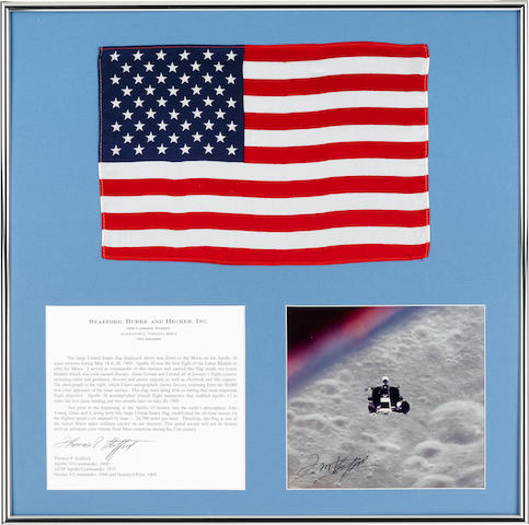 FASTEST FLOWN LARGE UNITED STATES FLAG CARRIED ON THE APOLLO 10 MISSION. FLOWN INSIDE LUNAR MODULE SNOOPY.