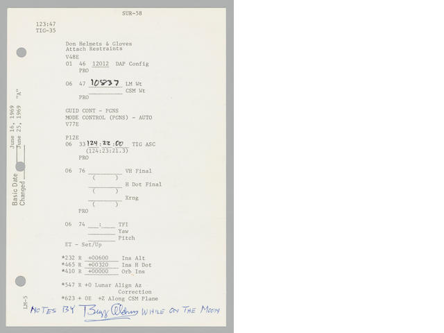 FLOWN APOLLO 11 LUNAR SURFACE CHECKLIST SHEET HAVING ONE OF THE MOST EXTENSIVE SETS OF NOTATIONS MADE WHILE ON THE MOON.  BOTH SIDES HAVE CRITICAL DATA RECORDED ON THE MOON TO ENABLE ARMSTRONG AND ALDRIN TO LEAVE THE LUNAR SURFACE.