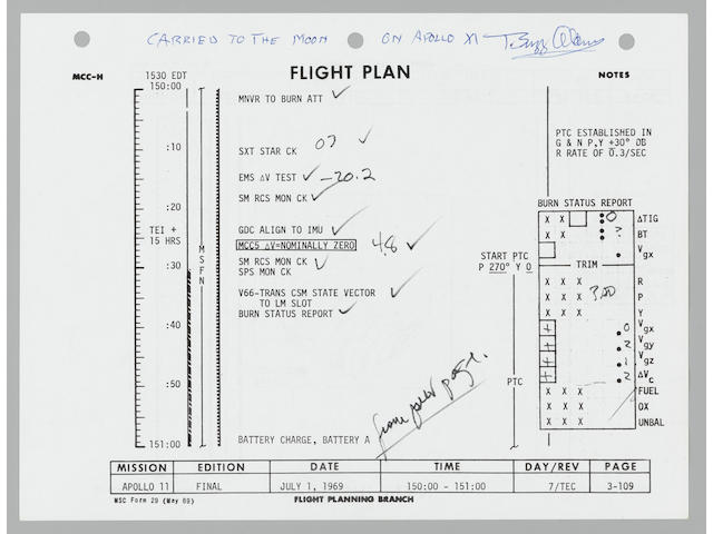 APOLLO 11 FLIGHT PLAN SHEET CARRIED ON AND USED DURING THE MISSION. EXTENSIVE NOTES MADE BY ARMSTRONG TO REFINE THEIR TRAJECTORY HOME.
