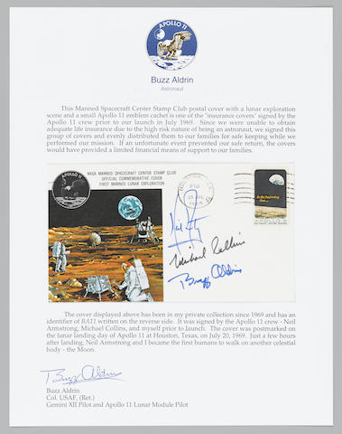 APOLLO 11 CREW SIGNED POSTAL COVER - LIFE INSURANCE FOR THE FAMILIES. ONE OF THE FEW INSURANCE COVERS THAT BEAR MICHAEL COLLINS SIGNATURE IN BLACK INK.