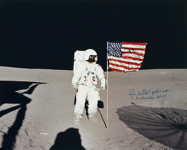 APOLLO 14 AND THE UNITED STATES FLAG ON THE MOON AT FRA MAURO.