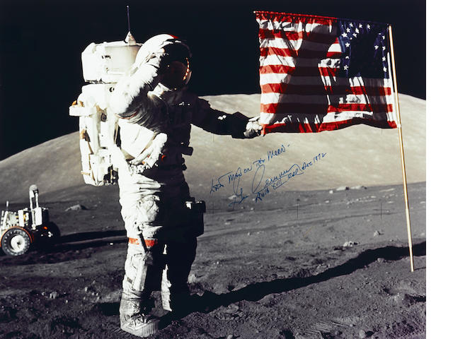 LAST MAN ON THE MOON – CERNAN SALUTES THE LAST STARS AND STRIPES.