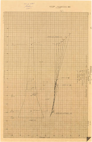 COOPER'S MERCURY CAPSULE AND TOWER DIAGRAM—SIGNED. Capsule and Tower Separation Distance plot diagram. McDonnell Aircraft Corporation, St. Louis 3, Missouri, February 18, 1959.
