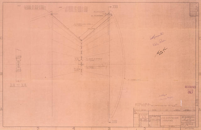 MERCURY HEAT SHIELD DRAWING BLUEPRINT—SIGNED. E. O. Extension Drawing blueprint.