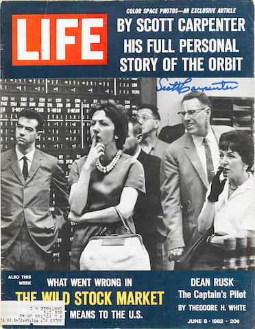 CARPENTER DESCRIBES HIS FLIGHT FOR LIFE MAGAZINE – SIGNED. LIFE Magazine. New York: Time-Life, June 8, 1962.