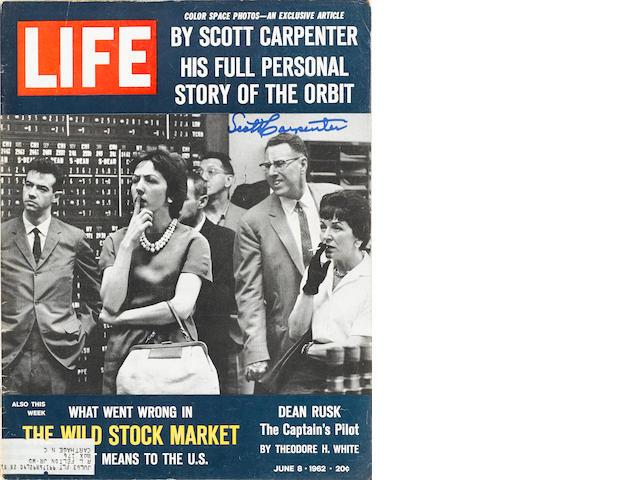CARPENTER DESCRIBES HIS FLIGHT FOR LIFE MAGAZINE – SIGNED. LIFE Magazine. New York: Time-Life, June 8, 1962.