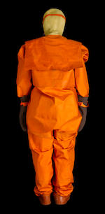 "EMERGENCY ""FOREL"" HYDROSUIT ISSUED TO COSMONAUT ALEXANDER VICTORENKO. BACK-UP SURVIVAL HYDROSUIT FOR THE COMMANDER OF THE SOYUZ TM-3 FLIGHT."