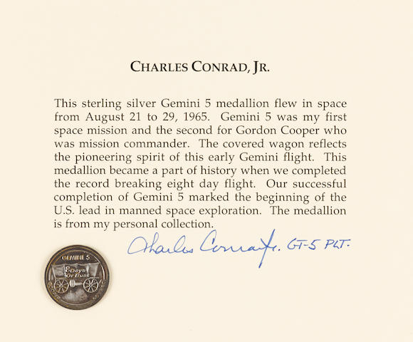 CHARLES CONRAD'S MEDALLION FLOWN ON GEMINI 5.