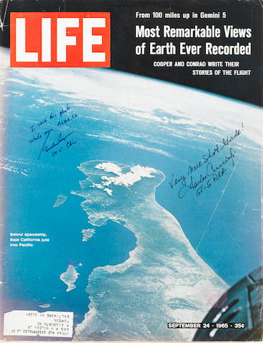 SPACE PHOTOGRAPHERS STUDY THE EARTH—SIGNED. LIFE Magazine. New York: Time-Life, September 24, 1965.