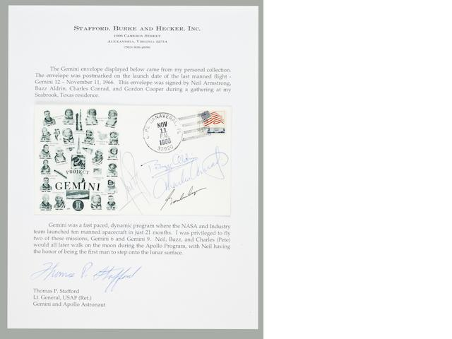 STAFFORD'S GEMINI PROGRAM LAUNCH COVER – WITH NEIL ARMSTRONG SIGNATURE.