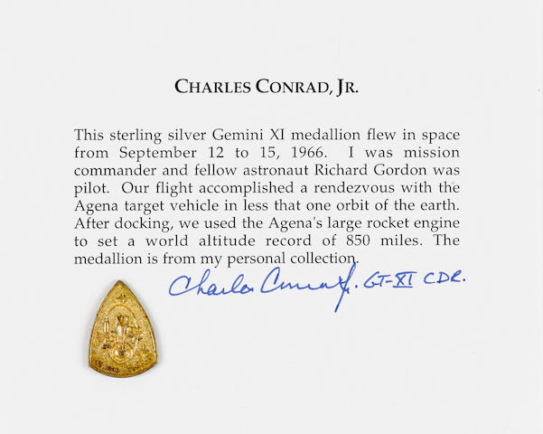 CHARLES CONRAD'S MEDALLION CARRIED ON GEMINI 11. ONE OF THE FEW GOLD-PLATED MEDALLIONS FROM THE MISSION.