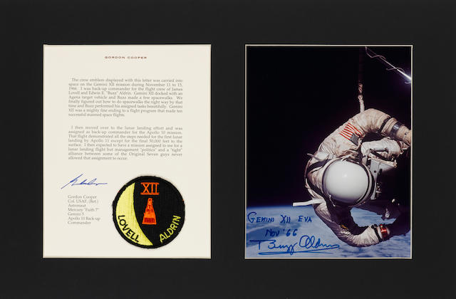 BACK-UP COMMANDER GORDON COOPER'S FLOWN GEMINI XII EMBLEM. WITH DETAILS ON THE LUNAR LANDING ASSIGNMENT THAT NEVER OCCURRED.