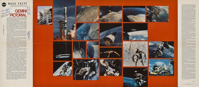 LARGE GEMINI POSTER—SIGNED, INCLUDING TWO GEMINI CREWS. Gemini Pictorial.