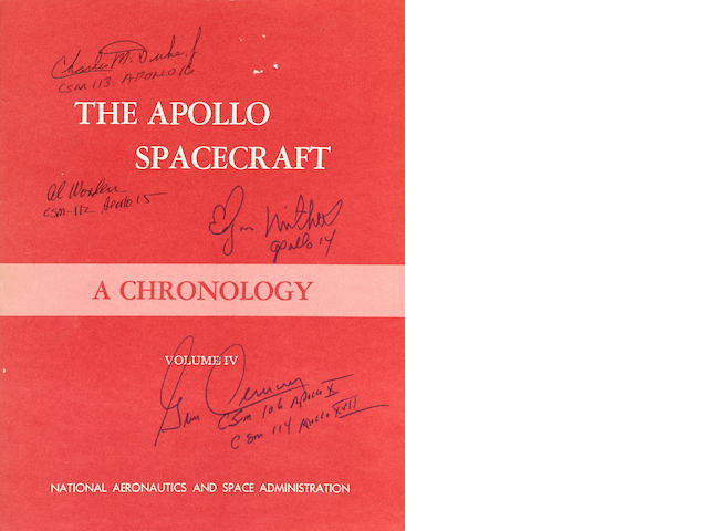 THE APOLLO CHRONOLOGY—SIGNED BY A MEMBER OF EVERY FLIGHT CREW. THIRTEEN APOLLO ASTRONAUT SIGNATURES OVER 4 VOLUMES.