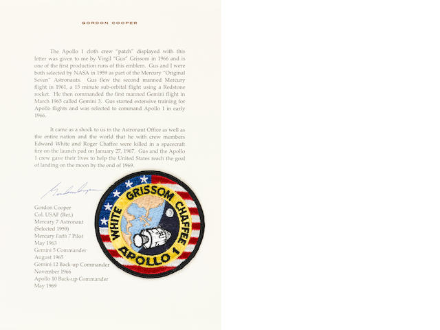 GORDON COOPER'S APOLLO 1 CREW EMBLEM. RECEIVED JUST PRIOR TO THE DEATHS OF GRISSOM, WHITE, AND CHAFFEE.