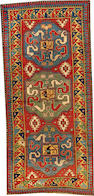A Cloudband Kazak rug  Caucasus size approximately 4ft. 3in. x 9ft. 1in.